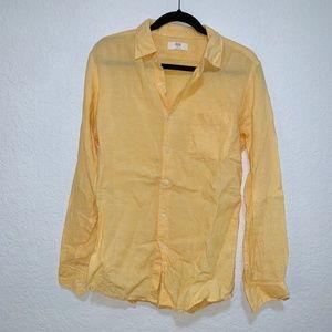 Uniqlo Yellow Linen Button Down Shirt